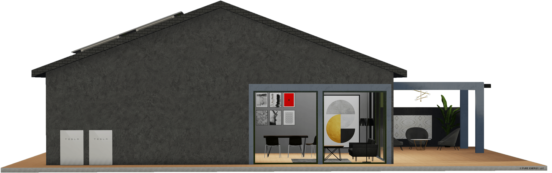 Grey house with tesla powerwalls on the side
