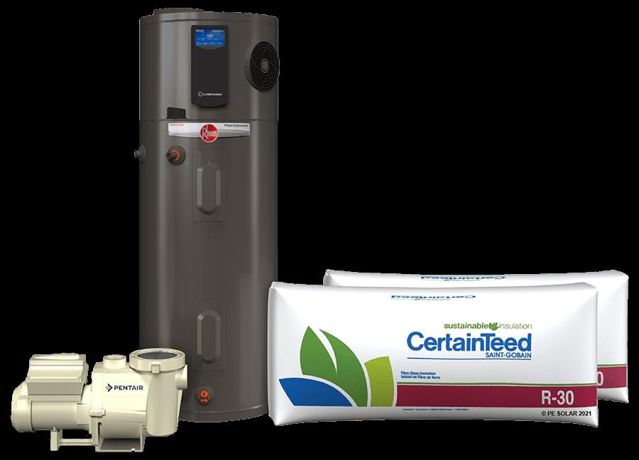 pintair pool pump, rheem water heater, and certainteed insulation